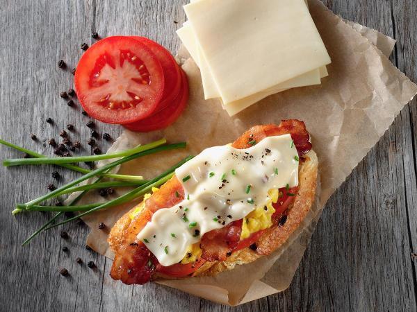 Boars Head American Cheese Bacon Open Faced Sandwich