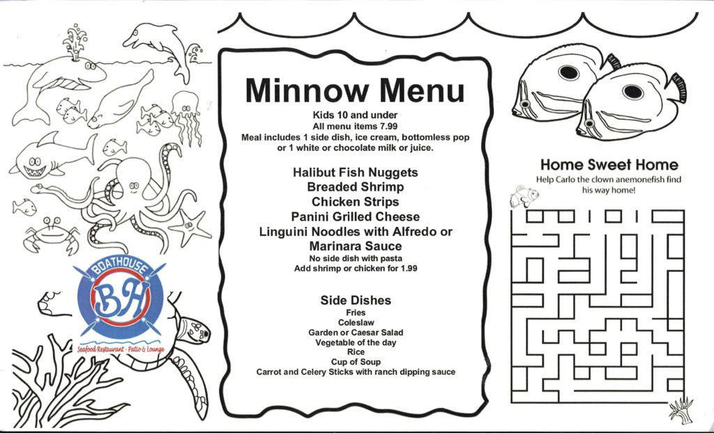 MINNOW MENU – The Boathouse Seafood Restaurant