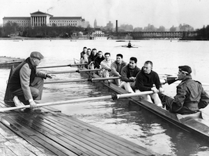 Tom Curran coaches La Salle College rowers to victory after victory in the 1950s.