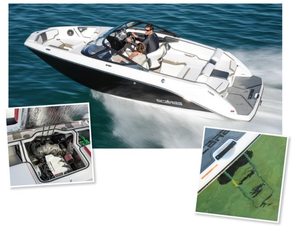 One of the primary benefits of jet propulsion is the compact drivetrain, as well as the safety and improved access for water activities off the transom.