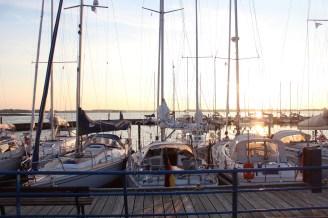 schleimuende germany water sky blue boat