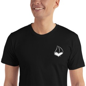 For The LUV of Sailing Embroidered White Sailboat Heart Black T-Shirt (UNISEX)
