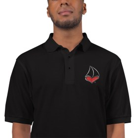 For The LUV of Sailing Red Sailboat Heart Polo Shirt (Men's)