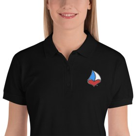 For The LUV of Sailing Embroidered Sailboat Heart Women's Polo Shirt (black)