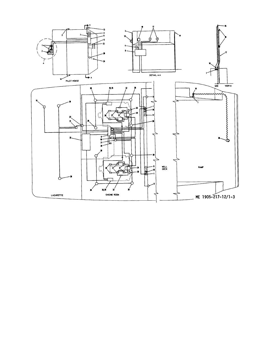 Figure 1-3. Plan view wiring diagram, hull numbers LCM