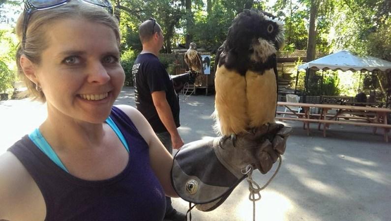 Bobbi holding an owl