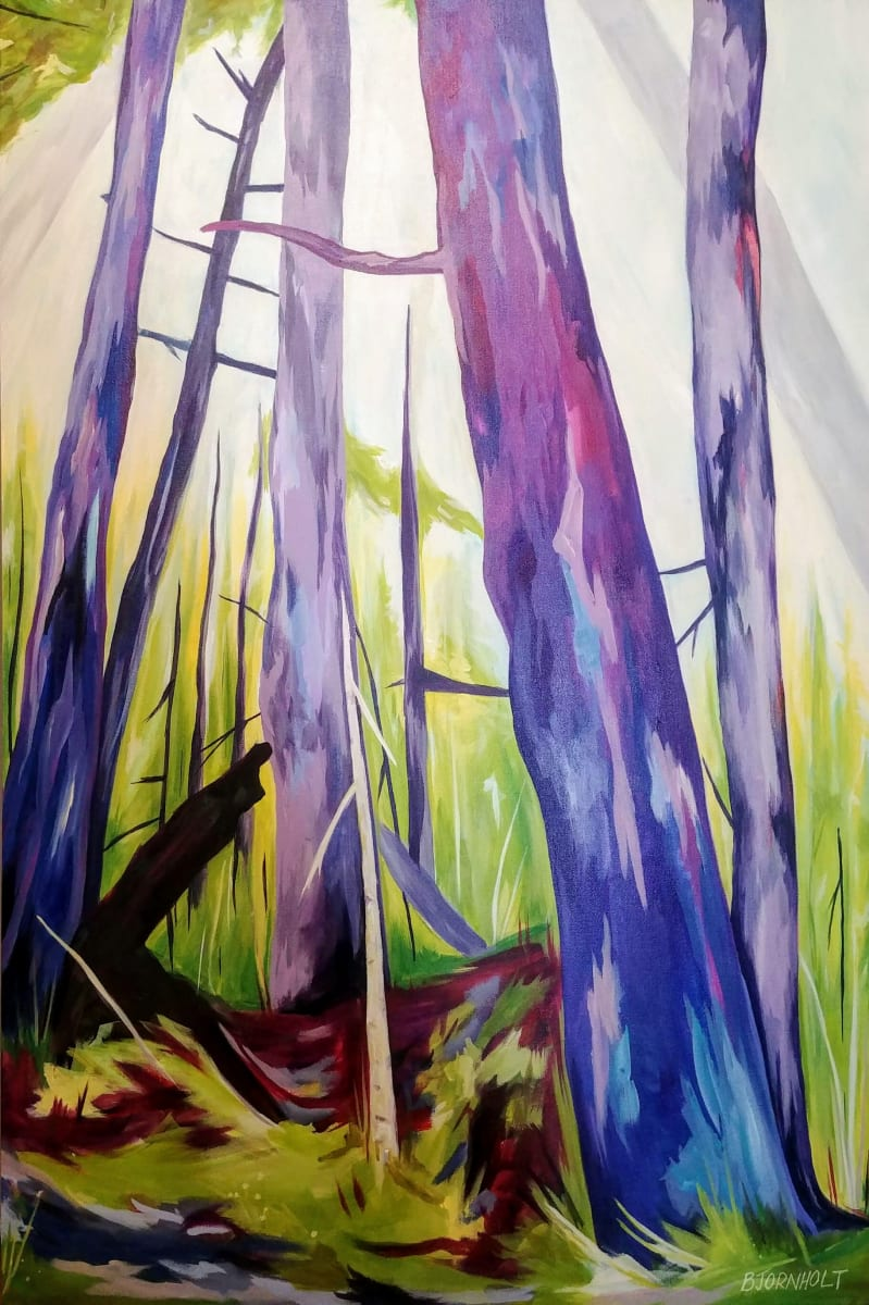 A painting of forest trees, mainly in purple in bright green surroundings