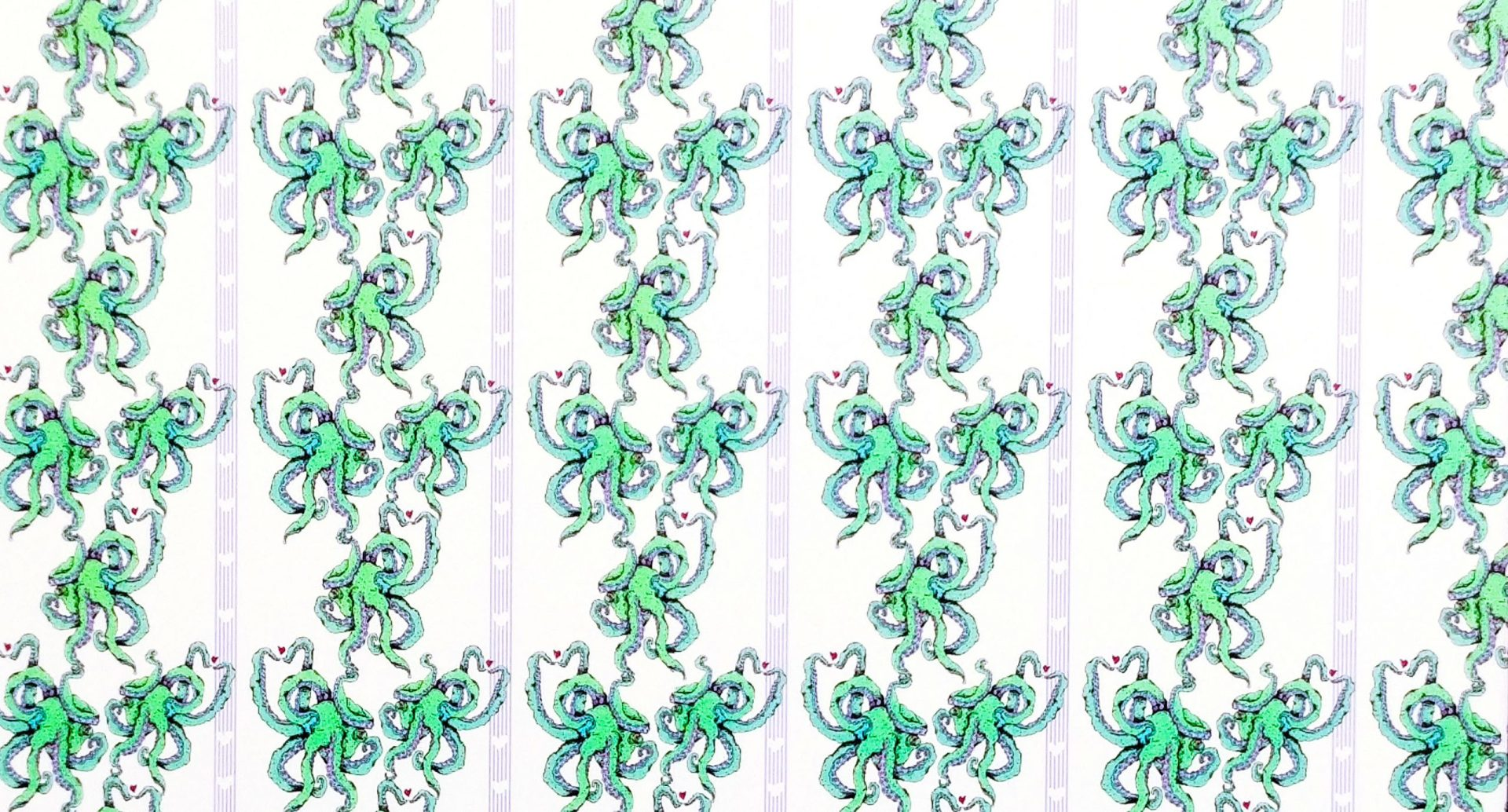 green octopus pattern that is tiled seamlessly like Victorian wallpaper designs