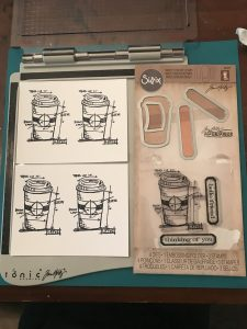 Coffe die cut and stamp