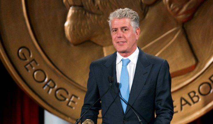 "FILE PHOTO: Television personality Anthony Bourdain speaks about the show ""Parts Unknown"" after the show won a Peabody Award in New York"