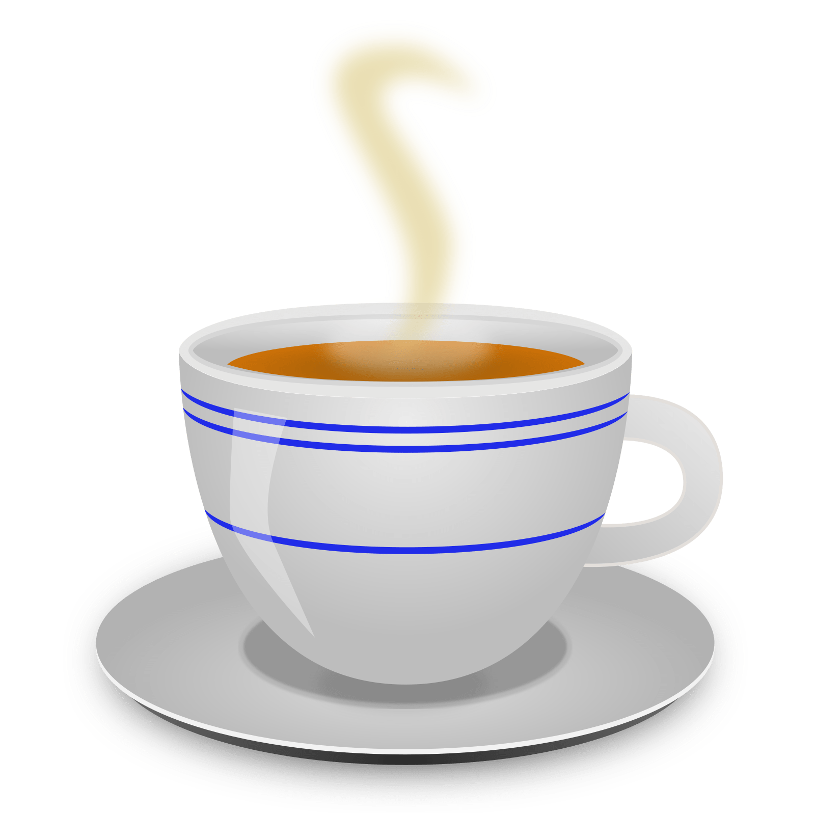 An illustration of a steaming hot cup of coffee on a saucer.