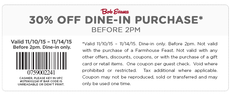Coupons for eating out