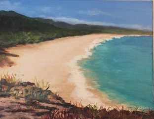"""Big Beach"": 14"" x 11"" acrylic original"