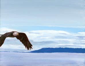 """Island Flight"": 14"" x 11"" acrylic original = $285/ Also available in artist enhanced print"