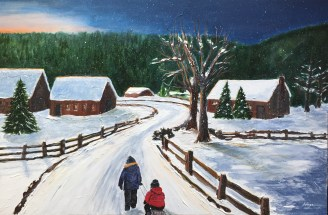 """""""Heading Home"""": 36"""" x 24"""" acrylic original = $425 /Also available in artist enhanced print"""