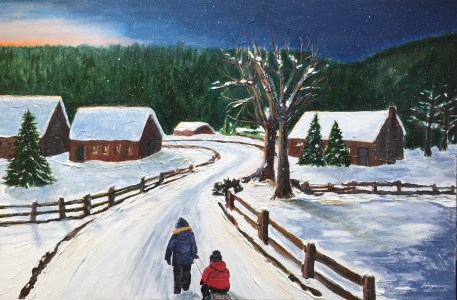 """Heading Home"": 36"" x 24"" acrylic original = $425 /Also available in artist enhanced print"