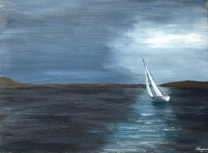 """Moonlit Sailing"": 16"" x 12"" Acrylic original - $225"
