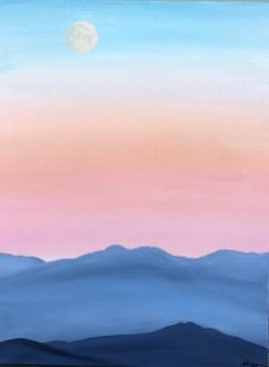 """""""Moon Over Cascades""""; 18"""" x 24"""" acrylic original - $275"""