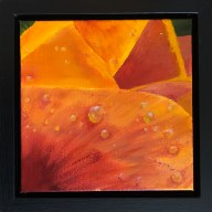 """Dew Tell"": 8"" x 8"" acrylic original (9"" x 9"" with frame) - $225"