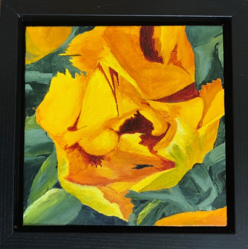 """Tulip"": 8"" x 8"" acrylic original (9"" x 9"" with frame)"
