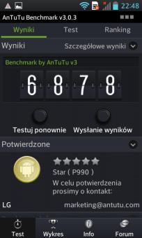 LG 2X P990 wynik benchmarku Antutu