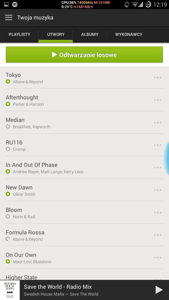 spotify android utwory