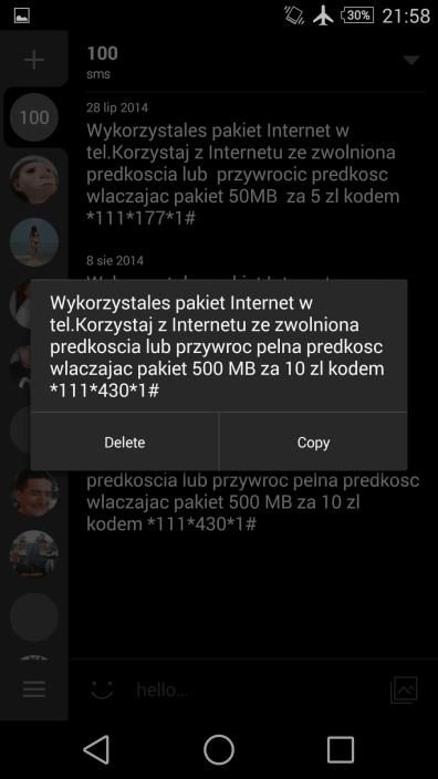 OT sms informujacy ze wykorzystałem pakiet w Play,