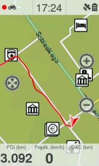 Przykład narysowanej trasy wTwonav Sportiva 2+