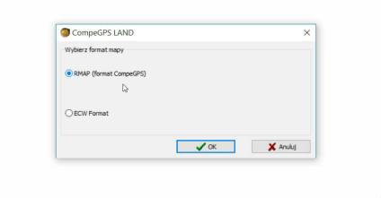 CompeGPS - wybieramy format mapy
