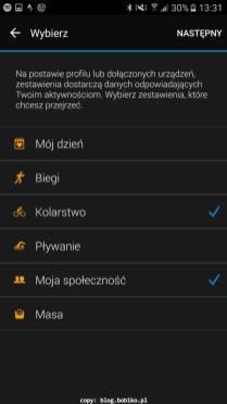 Garmin Connect - konfiguracja dashboardu