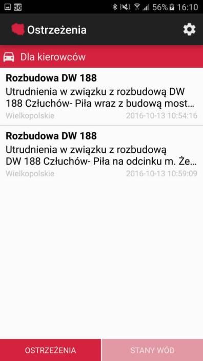 Aplikacje android w2016 - RSO Ostrzeżenia