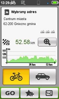Mio Cyclo 500 - wykres proponowanej trasy np.wSuprise Me