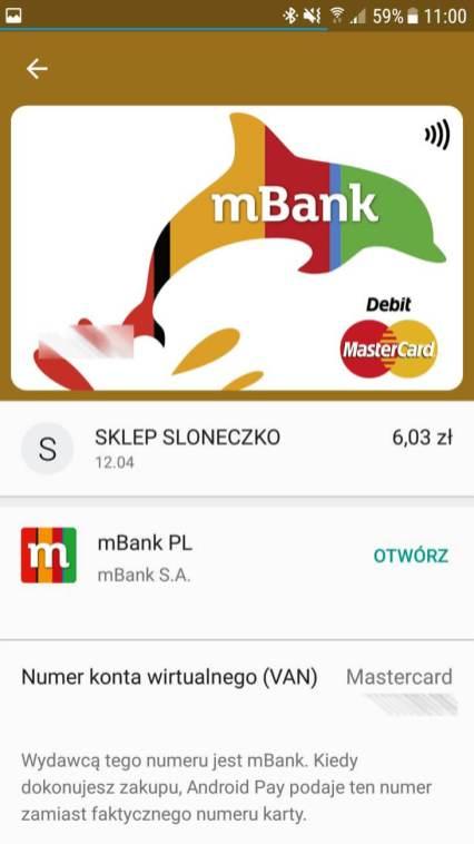 Android Pay - moja karta dodana wmbanku