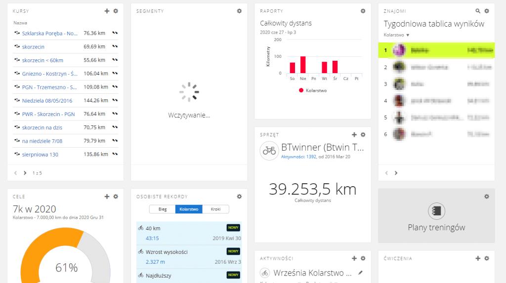 Garmin Connect - dashboard