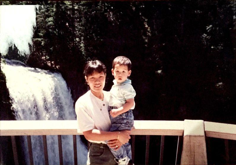 Feyma with Chris at waterfalls in Washington