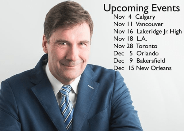 Bob's Upcoming Events for November/December 2017
