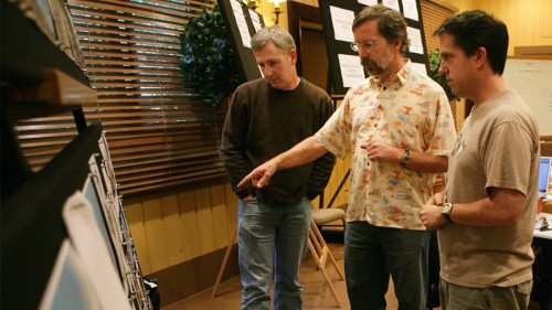 Ed Catmull (center) works through story ideas with his team at a retreat for Toy Story 3.