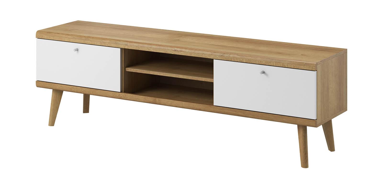 meuble tv 160 primino blanc et bois bois clair et blanc