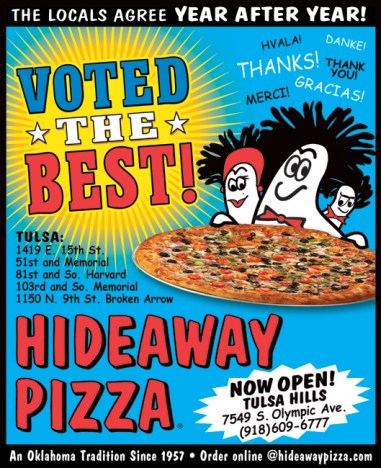 1/4 4-color AD - for Hideaway Pizza by Bob Paltrow Design