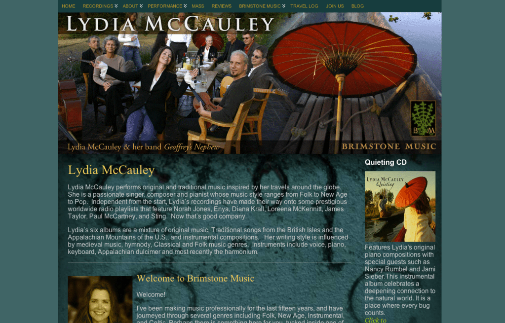 LydiaMcCauley.com - Bob Paltrow Web Design Bellingham WA 2
