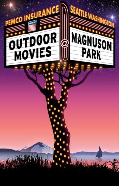 Outdoor Movies @Magnuson Park - Client: Epic Events - Illustration & Design by Bob Paltrow