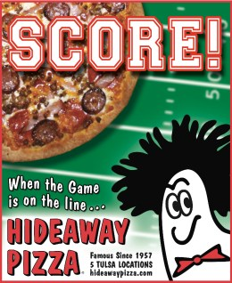 Hideaway Pizza 1/4 page Ad design by Bob Paltrow