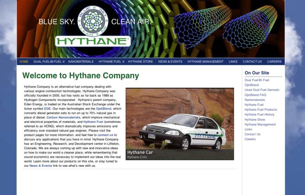 Natural Gas Powered Car - Hythane Company; Natural Gas - Bob Paltrow Web Design Bellingham WA