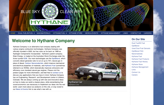 Natural Gas Powered Car - Hythane Company; Natural Gas - Bob Paltrow Web Design Bellingham WA