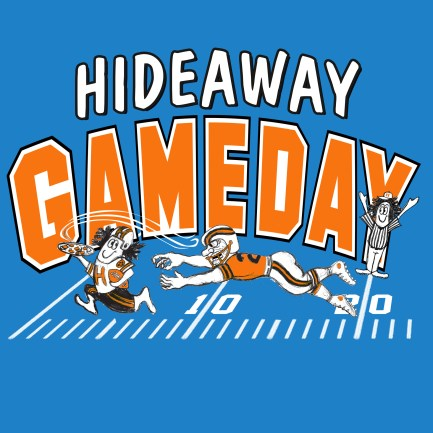 """T-Shirt Art """"Game Day"""" Illustration by Bob Paltrow Design, Bellingham WA for Hideaway Pizza"""