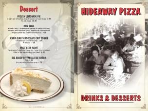 Hideaway Pizza Bar Menu design by Bob Paltrow Design, Bellingham WA