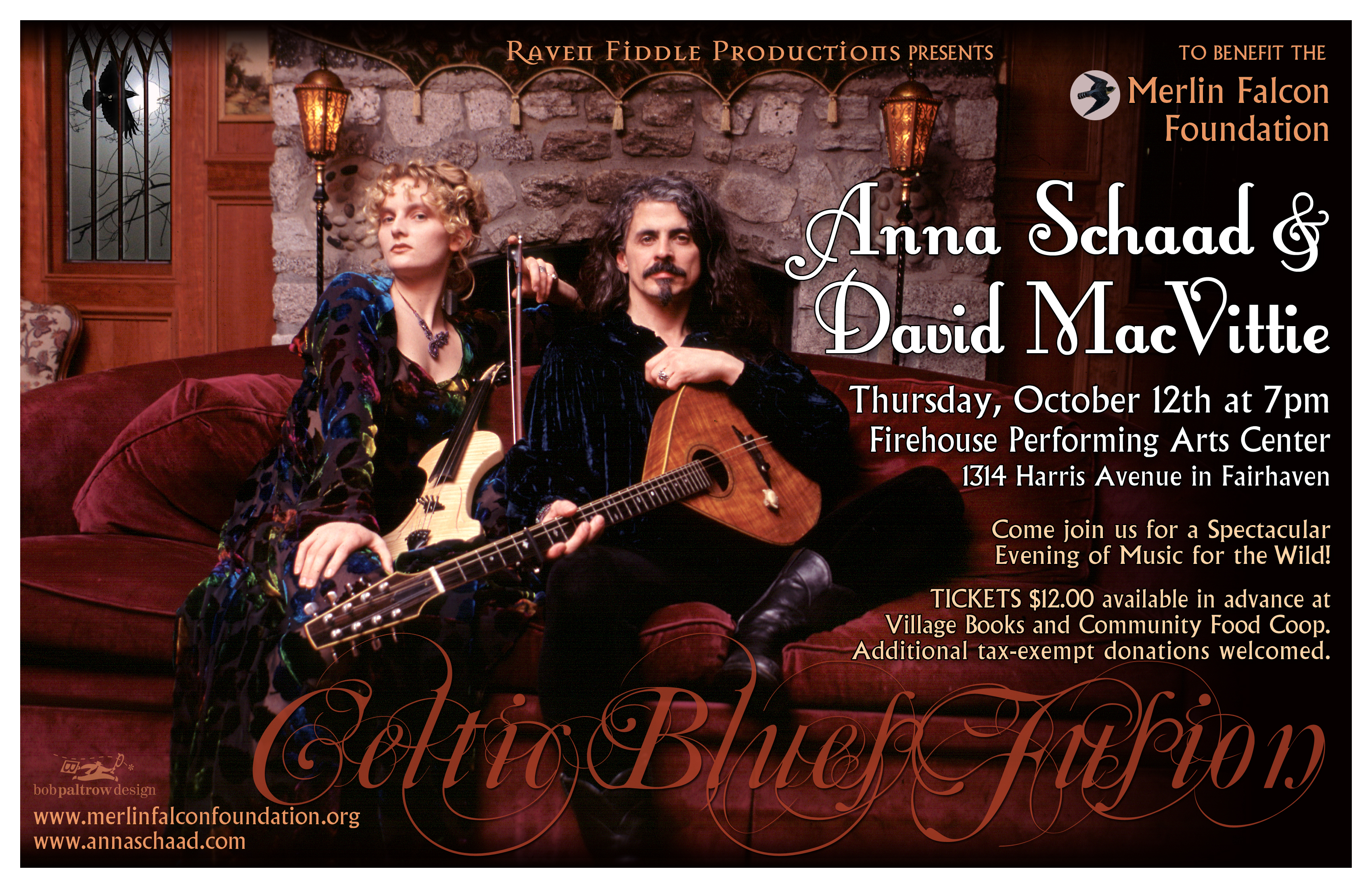 Concert Poster Design by Bob Paltrow Design. Bellingham WA. Client: Anna Schaad/Raven Fiddle Productions