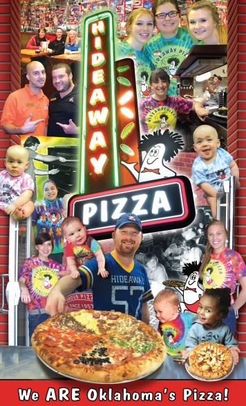 Hideaway Pizza Menu Cover - 2016 Design by Bob Paltrow