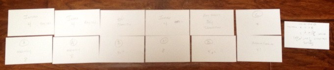 Index cards arranged