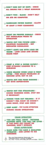 Bob's Crane Reference Cards & Safety Rules in English, Crane Safety Rules